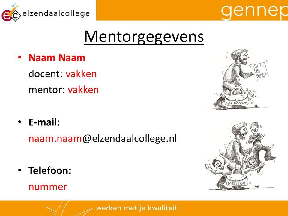 Mentorgegevens Naam Naam docent: vakken mentor: vakken E-mail: naam.naam@elzendaalcollege.nl Telefoon: nummer