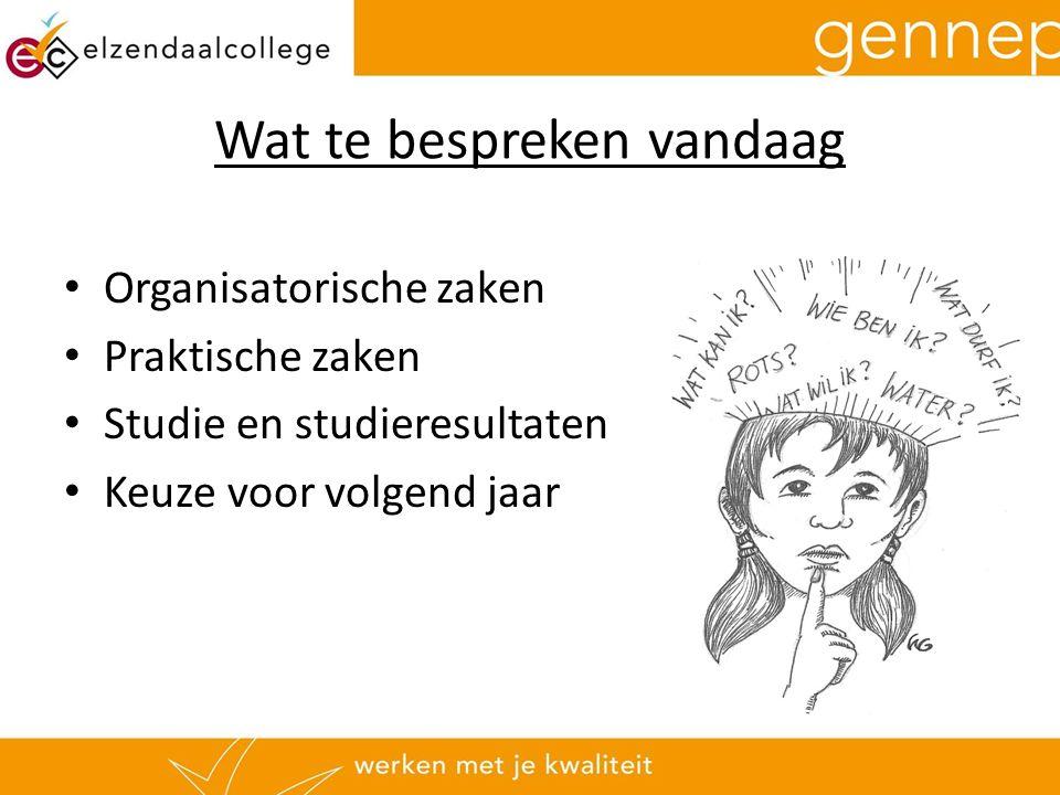 Wat te bespreken vandaag Organisatorische zaken Praktische zaken Studie en studieresultaten Keuze voor volgend jaar