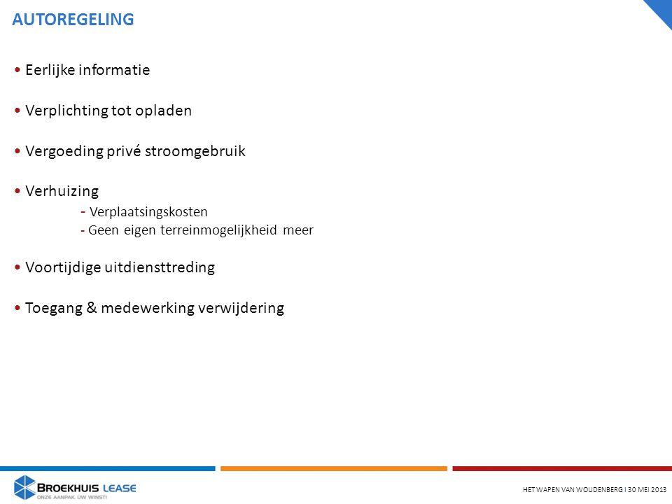 AUTOREGELING HET WAPEN VAN WOUDENBERG l 30 MEI 2013 Eerlijke informatie Verplichting tot opladen Vergoeding privé stroomgebruik Verhuizing - Verplaatsingskosten - Geen eigen terreinmogelijkheid meer Voortijdige uitdiensttreding Toegang & medewerking verwijdering