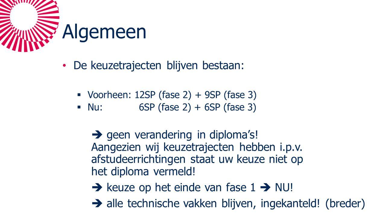 Algemeen De keuzetrajecten blijven bestaan:  Voorheen: 12SP (fase 2) + 9SP (fase 3)  Nu: 6SP (fase 2) + 6SP (fase 3)  geen verandering in diploma's.