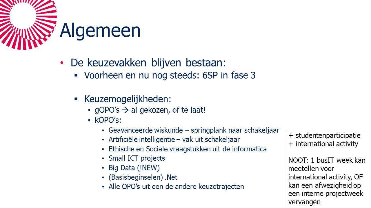Algemeen De keuzevakken blijven bestaan:  Voorheen en nu nog steeds: 6SP in fase 3  Keuzemogelijkheden: gOPO's  al gekozen, of te laat.