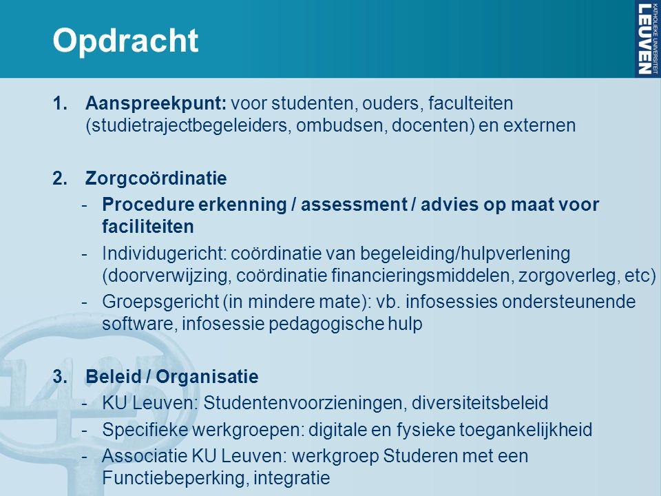 Opdracht 1.Aanspreekpunt: voor studenten, ouders, faculteiten (studietrajectbegeleiders, ombudsen, docenten) en externen 2.Zorgcoördinatie -Procedure erkenning / assessment / advies op maat voor faciliteiten -Individugericht: coördinatie van begeleiding/hulpverlening (doorverwijzing, coördinatie financieringsmiddelen, zorgoverleg, etc) -Groepsgericht (in mindere mate): vb.
