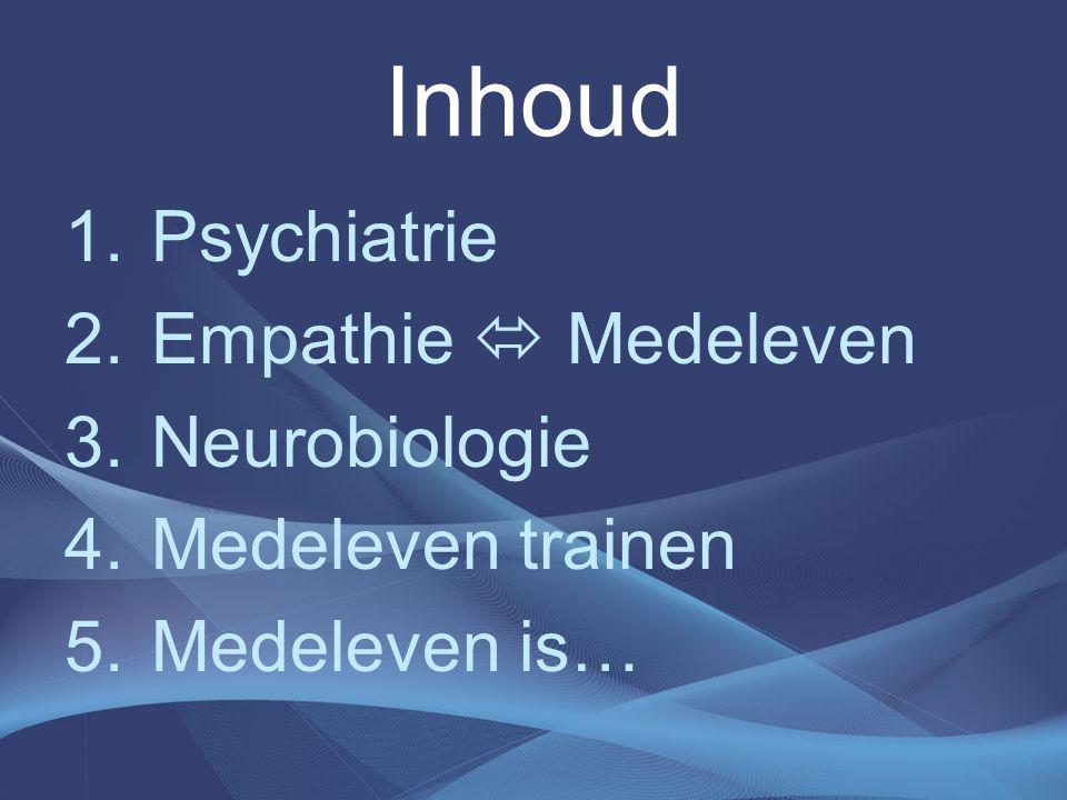 Inhoud 1.Psychiatrie 2.Empathie  Medeleven 3.Neurobiologie 4.Medeleven trainen 5.Medeleven is…