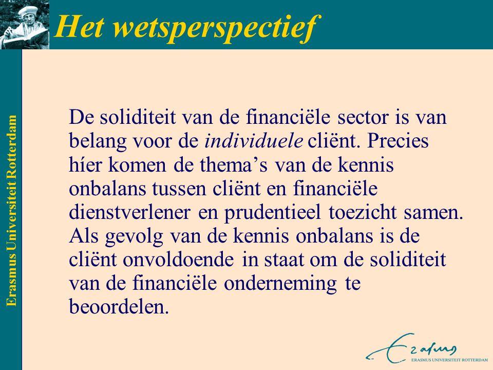 Erasmus Universiteit Rotterdam Het wetsperspectief De soliditeit van de financiële sector is van belang voor de individuele cliënt.