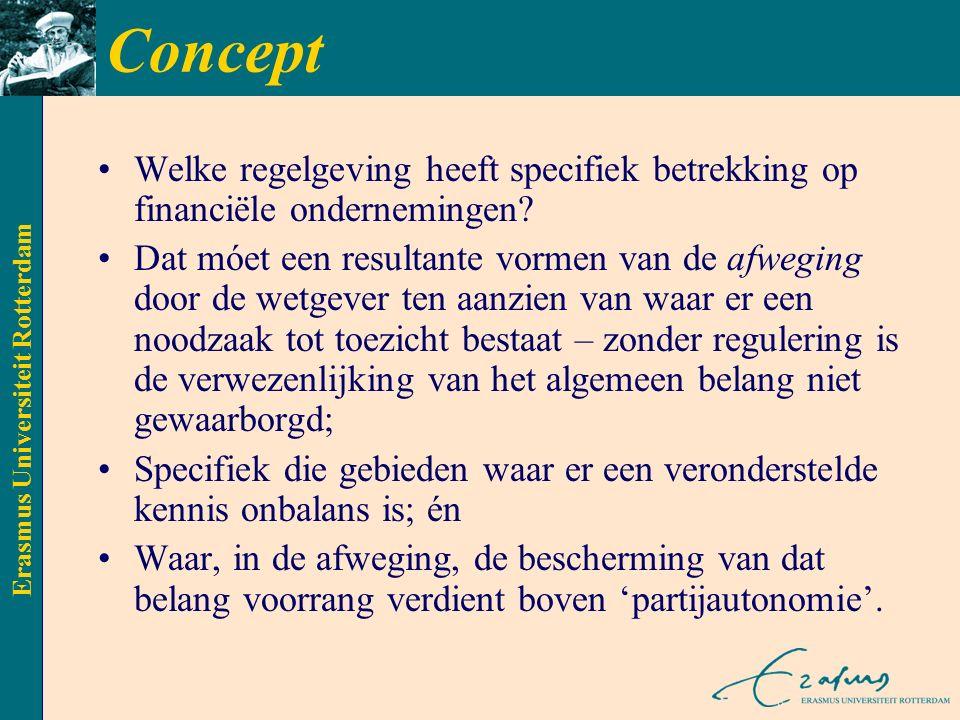 Erasmus Universiteit Rotterdam Concept Welke regelgeving heeft specifiek betrekking op financiële ondernemingen.