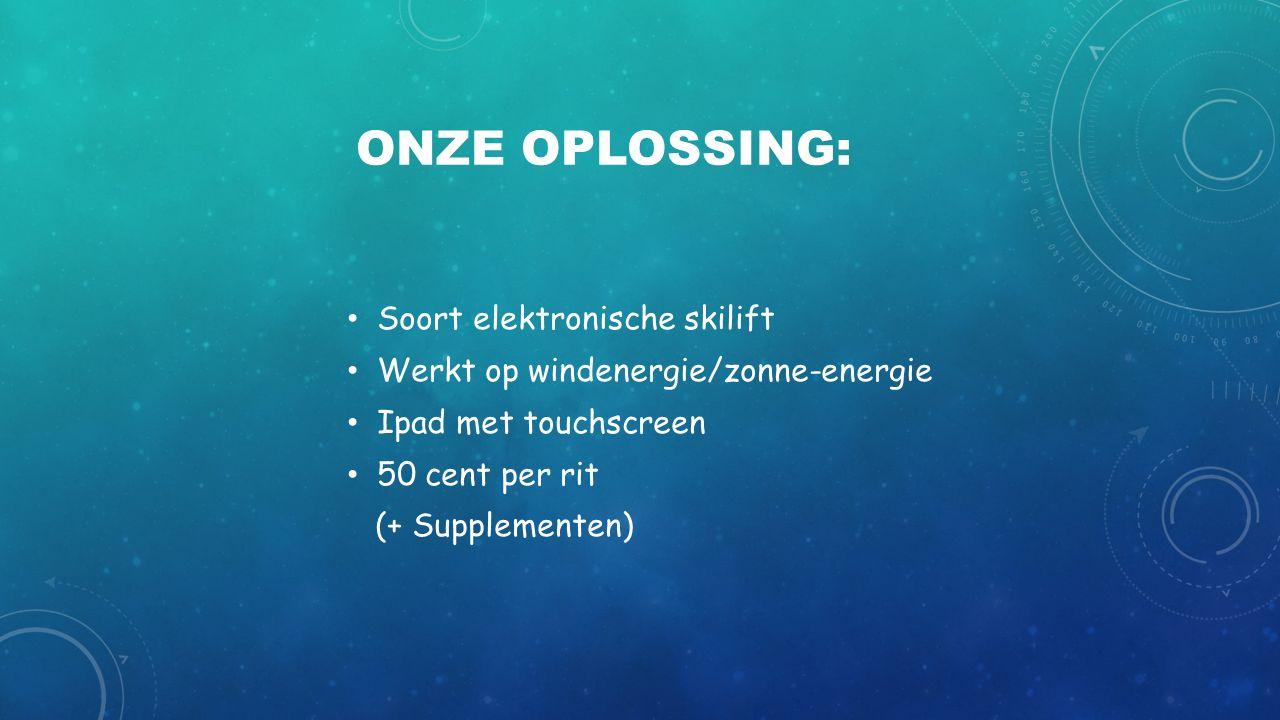 ONZE OPLOSSING: Soort elektronische skilift Werkt op windenergie/zonne-energie Ipad met touchscreen 50 cent per rit (+ Supplementen)