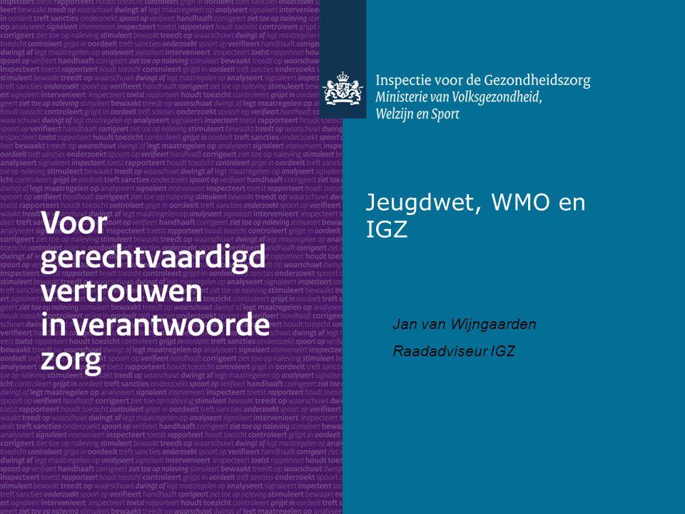 Jeugdwet, WMO en IGZ Jan van Wijngaarden Raadadviseur IGZ