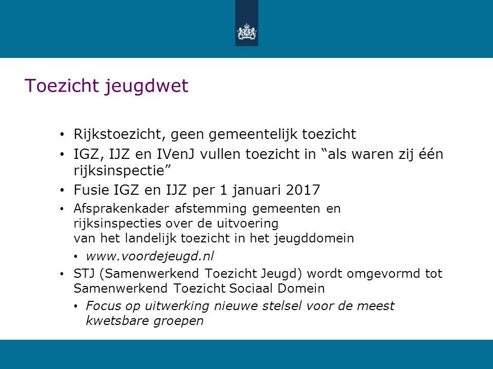 Toezicht jeugdwet Rijkstoezicht, geen gemeentelijk toezicht IGZ, IJZ en IVenJ vullen toezicht in als waren zij één rijksinspectie Fusie IGZ en IJZ per 1 januari 2017 Afsprakenkader afstemming gemeenten en rijksinspecties over de uitvoering van het landelijk toezicht in het jeugddomein www.voordejeugd.nl STJ (Samenwerkend Toezicht Jeugd) wordt omgevormd tot Samenwerkend Toezicht Sociaal Domein Focus op uitwerking nieuwe stelsel voor de meest kwetsbare groepen