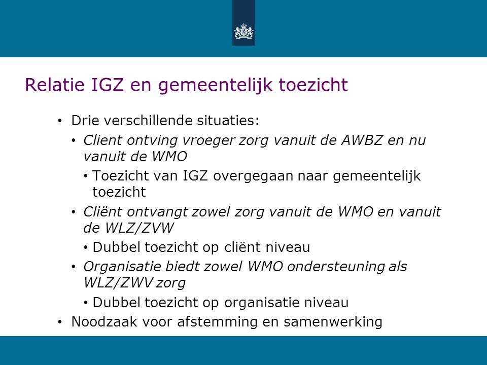 Relatie IGZ en gemeentelijk toezicht Drie verschillende situaties: Client ontving vroeger zorg vanuit de AWBZ en nu vanuit de WMO Toezicht van IGZ overgegaan naar gemeentelijk toezicht Cliënt ontvangt zowel zorg vanuit de WMO en vanuit de WLZ/ZVW Dubbel toezicht op cliënt niveau Organisatie biedt zowel WMO ondersteuning als WLZ/ZWV zorg Dubbel toezicht op organisatie niveau Noodzaak voor afstemming en samenwerking