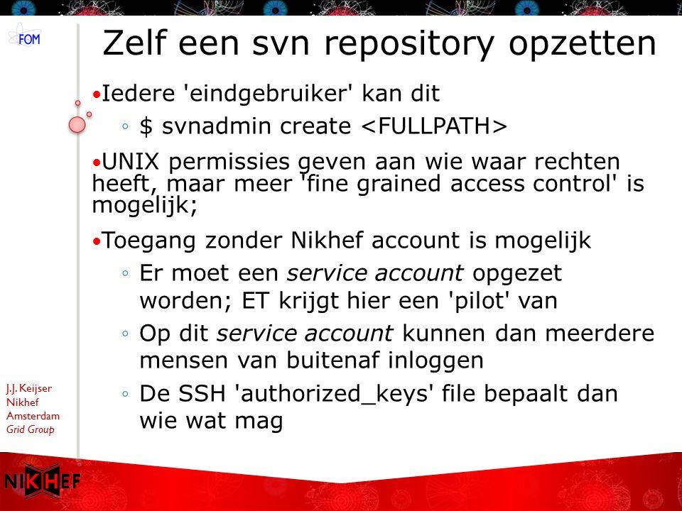 J.J. Keijser Nikhef Amsterdam Grid Group Zelf een svn repository opzetten Iedere 'eindgebruiker' kan dit ◦$ svnadmin create UNIX permissies geven aan