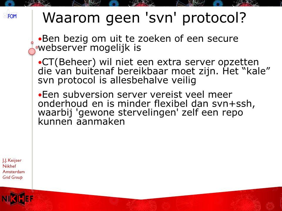 J.J.Keijser Nikhef Amsterdam Grid Group Waarom geen svn protocol.