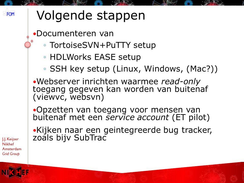 J.J. Keijser Nikhef Amsterdam Grid Group Volgende stappen Documenteren van ◦TortoiseSVN+PuTTY setup ◦HDLWorks EASE setup ◦SSH key setup (Linux, Window