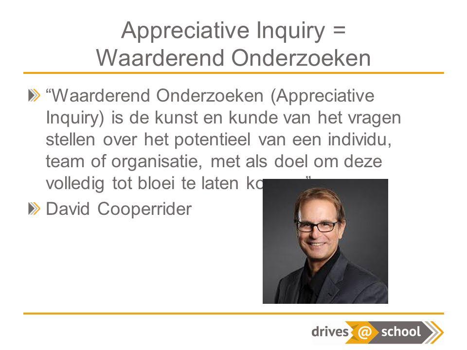 Appreciative Inquiry = Waarderend Onderzoeken Waarderend Onderzoeken (Appreciative Inquiry) is de kunst en kunde van het vragen stellen over het potentieel van een individu, team of organisatie, met als doel om deze volledig tot bloei te laten komen. David Cooperrider