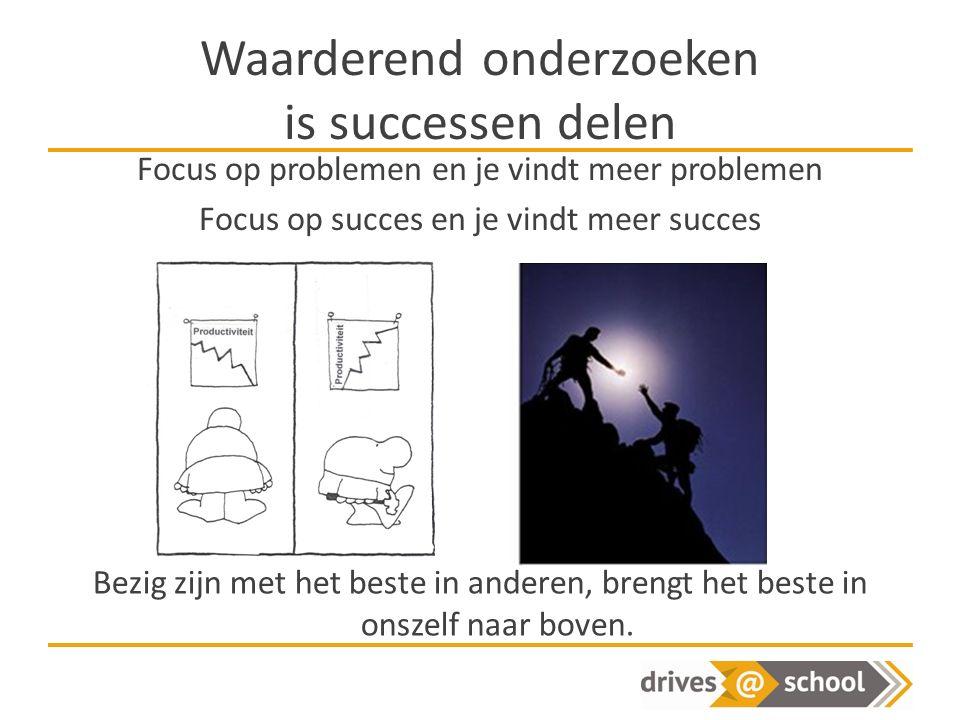 Waarderend onderzoeken is successen delen Focus op problemen en je vindt meer problemen Focus op succes en je vindt meer succes Bezig zijn met het beste in anderen, brengt het beste in onszelf naar boven.