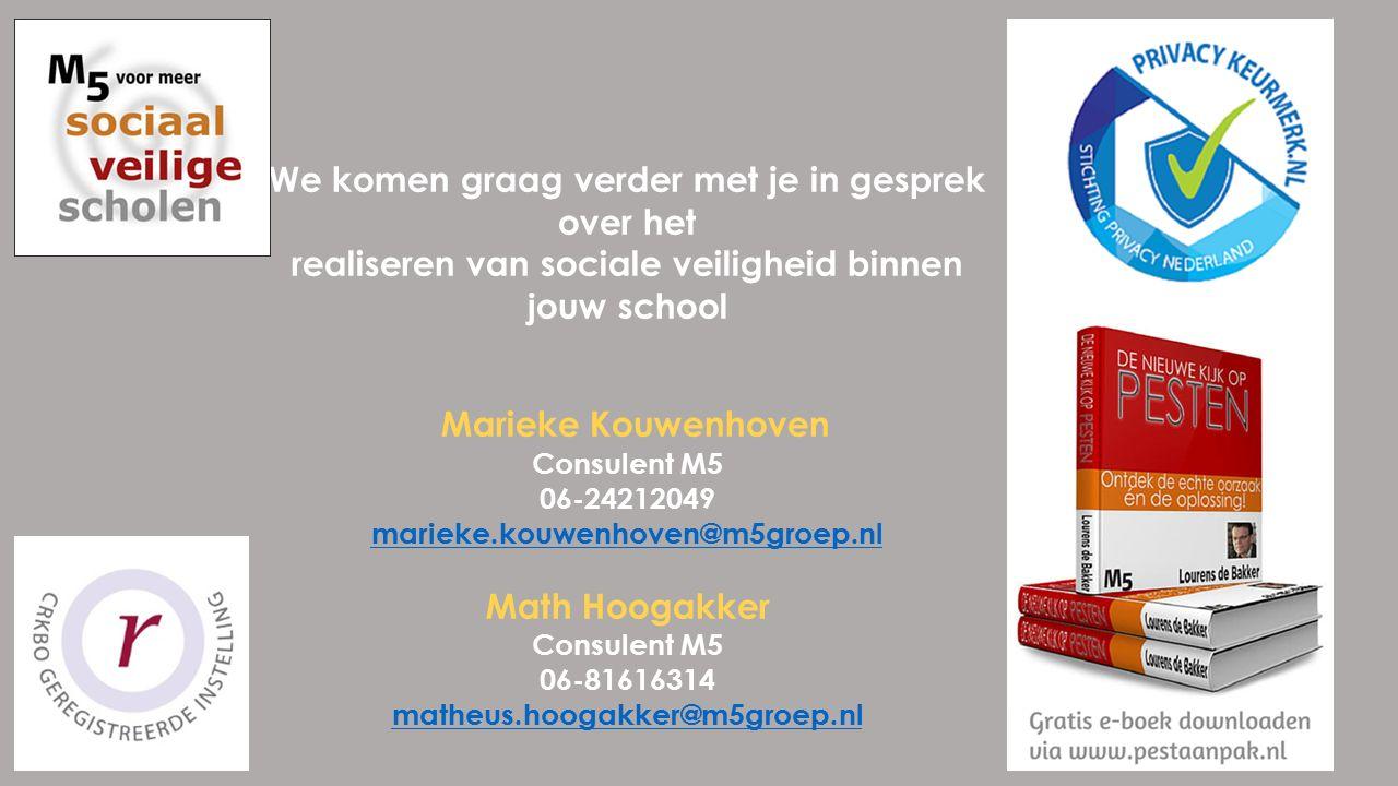 We komen graag verder met je in gesprek over het realiseren van sociale veiligheid binnen jouw school Marieke Kouwenhoven Consulent M5 06-24212049 marieke.kouwenhoven@m5groep.nl Math Hoogakker Consulent M5 06-81616314 matheus.hoogakker@m5groep.nl