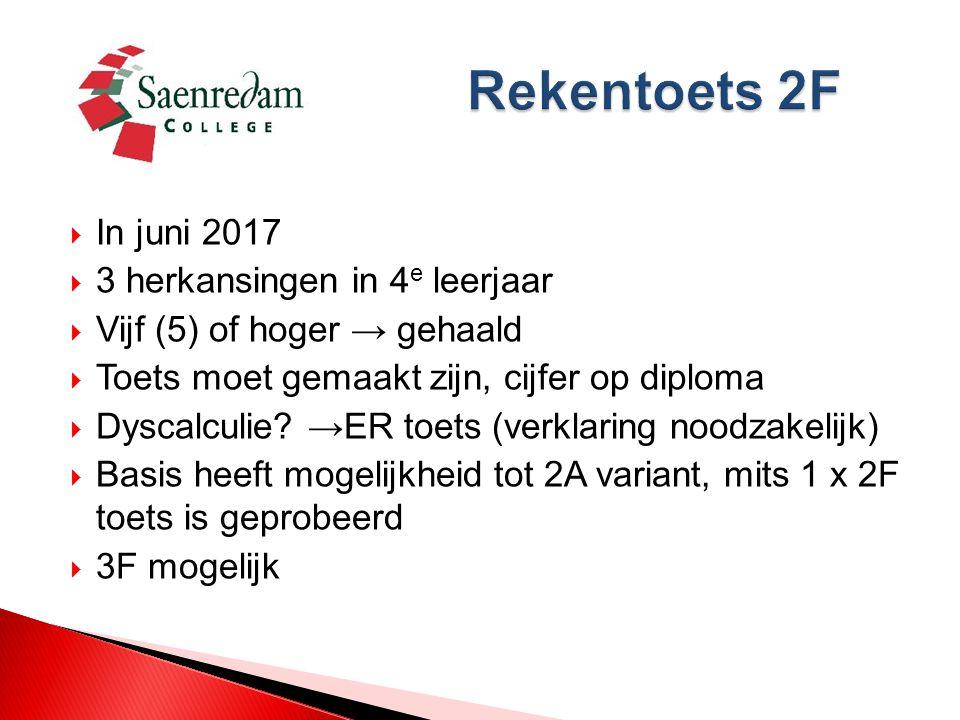  In juni 2017  3 herkansingen in 4 e leerjaar  Vijf (5) of hoger → gehaald  Toets moet gemaakt zijn, cijfer op diploma  Dyscalculie.