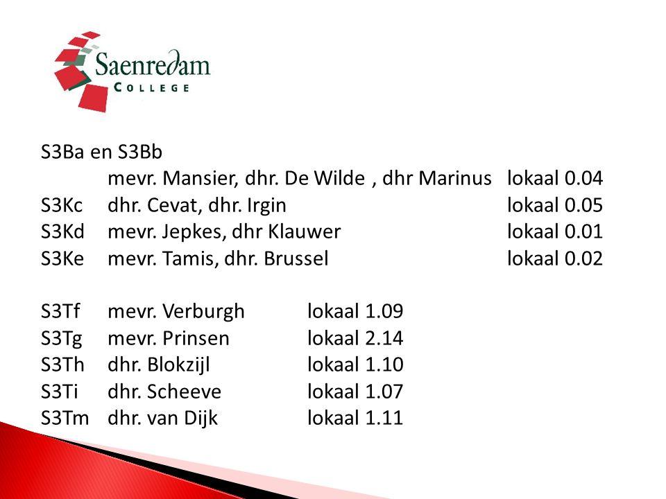 S3Ba en S3Bb mevr.Mansier, dhr. De Wilde, dhr Marinus lokaal 0.04 S3Kcdhr.