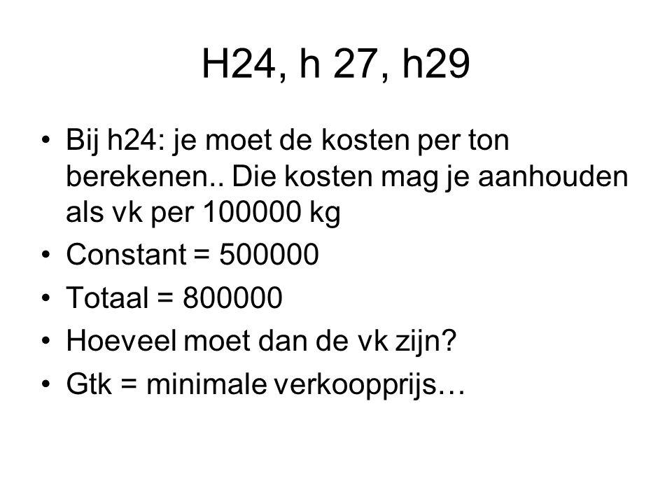 H24, h 27, h29 Bij h24: je moet de kosten per ton berekenen..