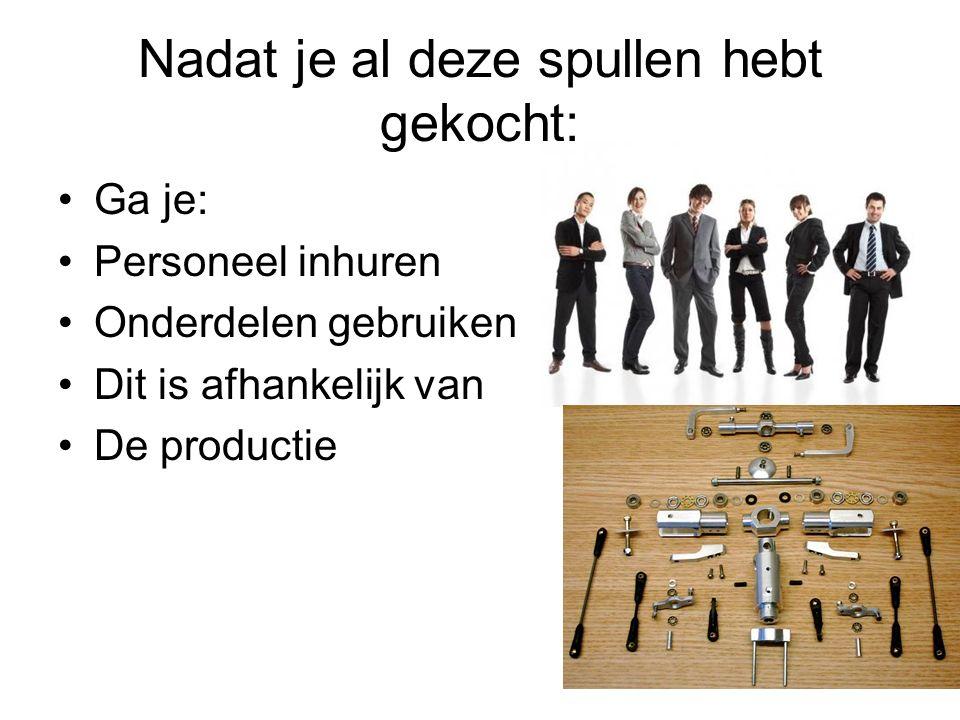 Nadat je al deze spullen hebt gekocht: Ga je: Personeel inhuren Onderdelen gebruiken Dit is afhankelijk van De productie