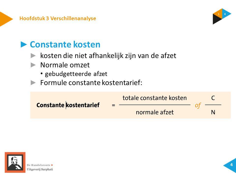 Hoofdstuk 3 Verschillenanalyse 4 ► Constante kosten ► kosten die niet afhankelijk zijn van de afzet ► Normale omzet gebudgetteerde afzet ► Formule constante kostentarief: