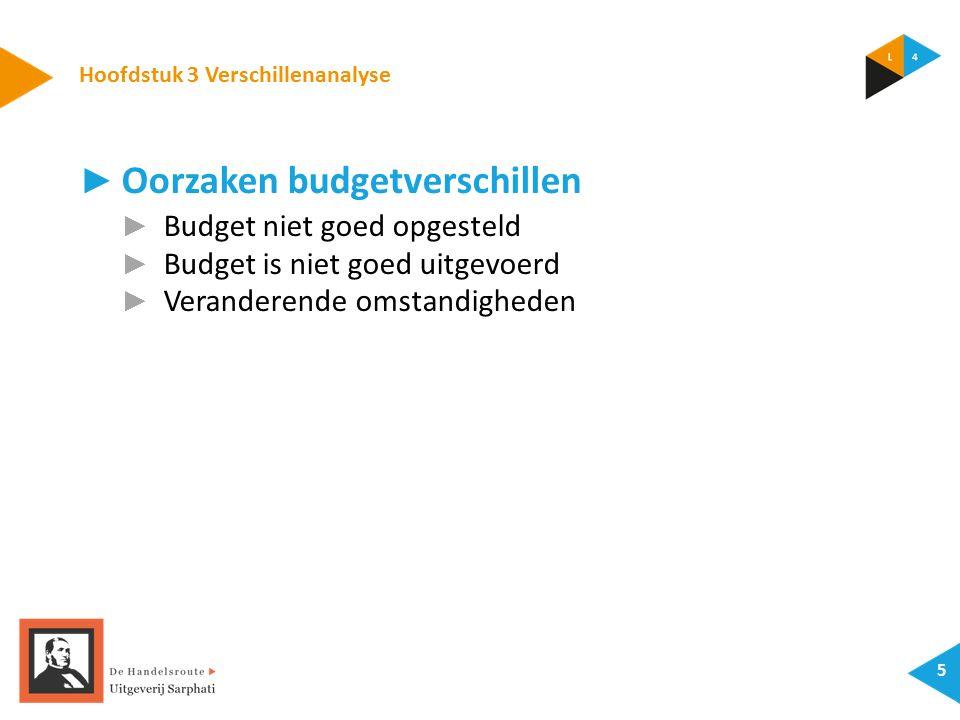 Hoofdstuk 3 Verschillenanalyse 5 ► Oorzaken budgetverschillen ► Budget niet goed opgesteld ► Budget is niet goed uitgevoerd ► Veranderende omstandigheden