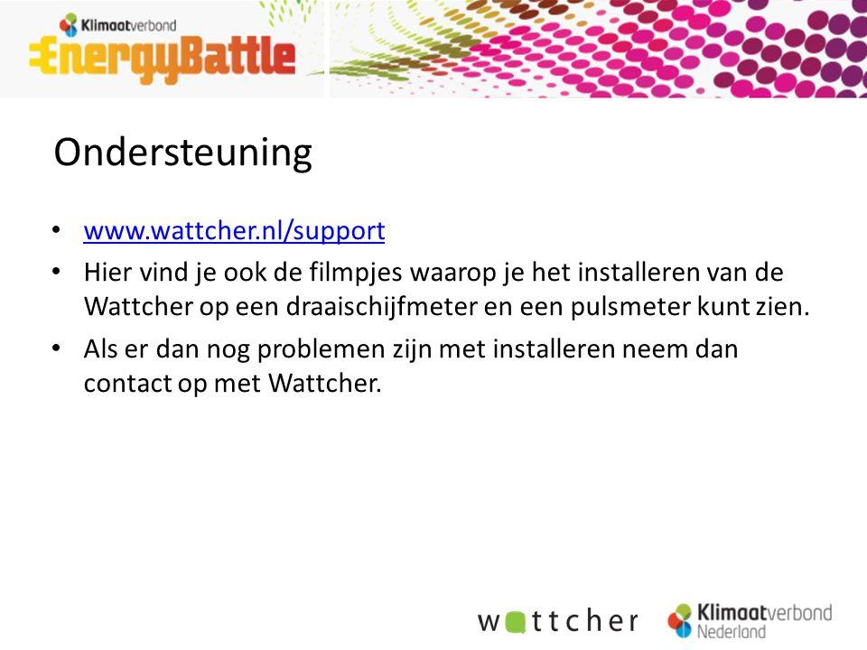 Ondersteuning www.wattcher.nl/support Hier vind je ook de filmpjes waarop je het installeren van de Wattcher op een draaischijfmeter en een pulsmeter