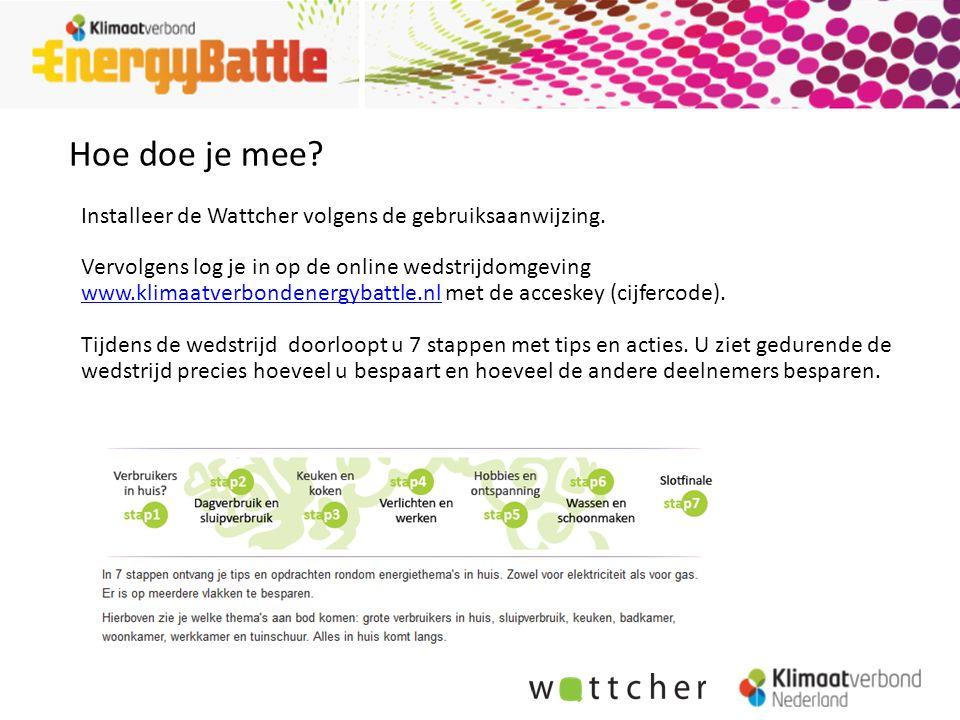 Hoe doe je mee? Installeer de Wattcher volgens de gebruiksaanwijzing. Vervolgens log je in op de online wedstrijdomgeving www.klimaatverbondenergybatt