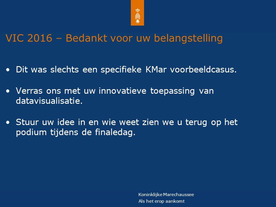Koninklijke Marechaussee Als het erop aankomt VIC 2016 – Bedankt voor uw belangstelling Dit was slechts een specifieke KMar voorbeeldcasus.