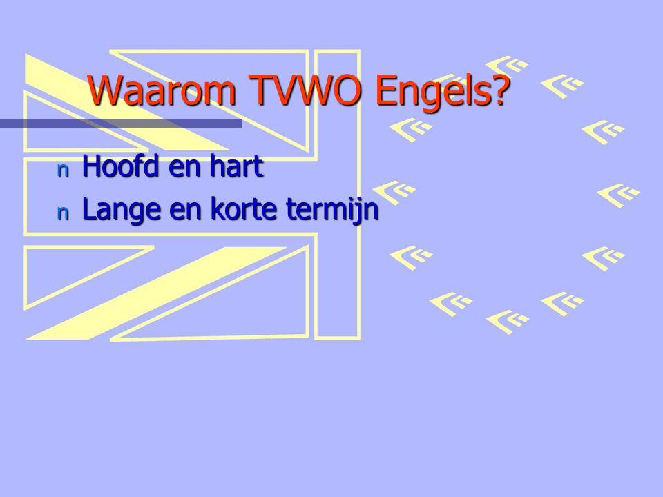 Waarom TVWO Engels? n Hoofd en hart n Lange en korte termijn