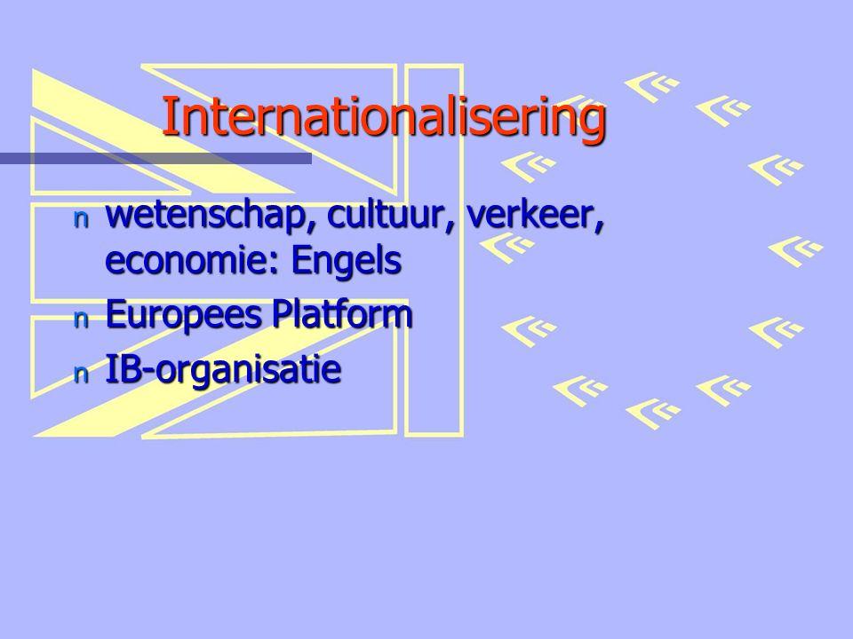 Internationalisering n wetenschap, cultuur, verkeer, economie: Engels n Europees Platform n IB-organisatie
