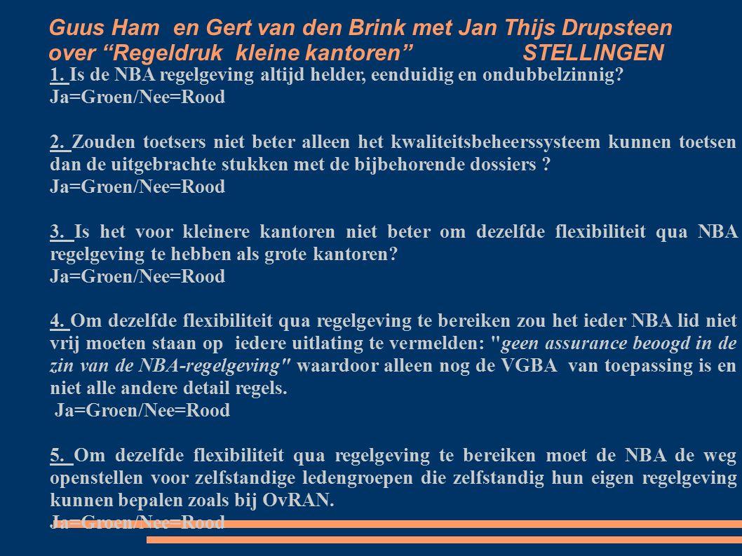 Guus Ham en Gert van den Brink met Jan Thijs Drupsteen over Regeldruk kleine kantoren STELLINGEN 1.