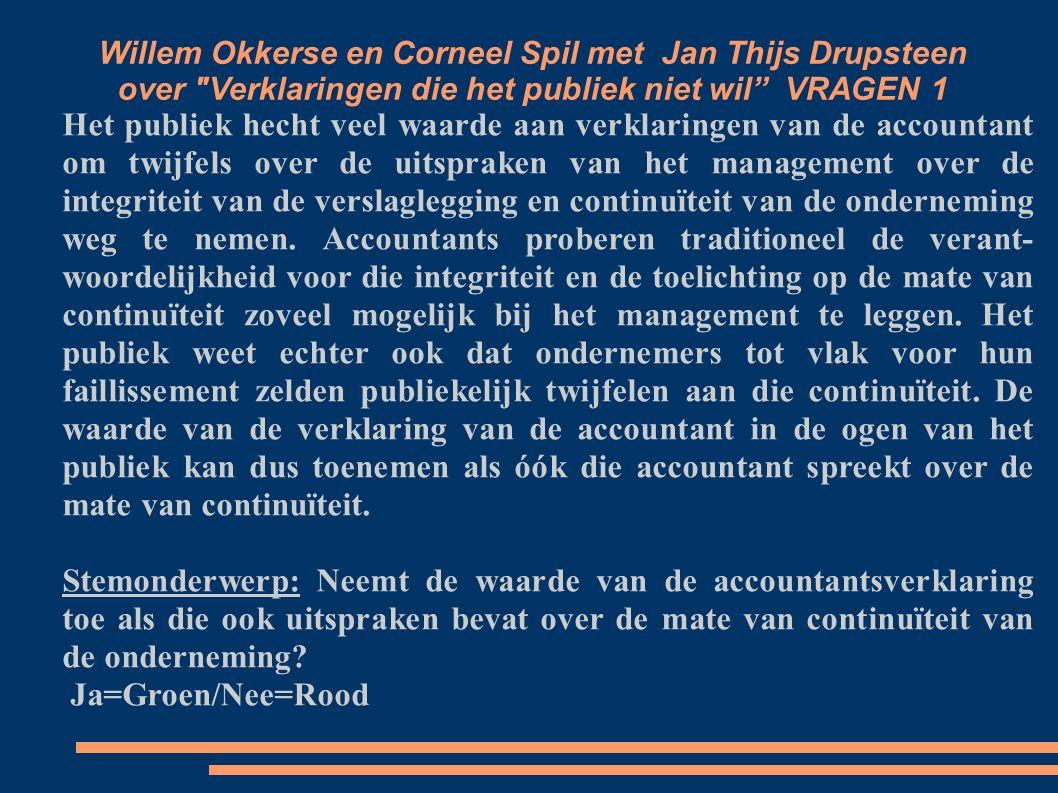 Willem Okkerse en Corneel Spil met Jan Thijs Drupsteen over Verklaringen die het publiek niet wil VRAGEN 1 Het publiek hecht veel waarde aan verklaringen van de accountant om twijfels over de uitspraken van het management over de integriteit van de verslaglegging en continuïteit van de onderneming weg te nemen.