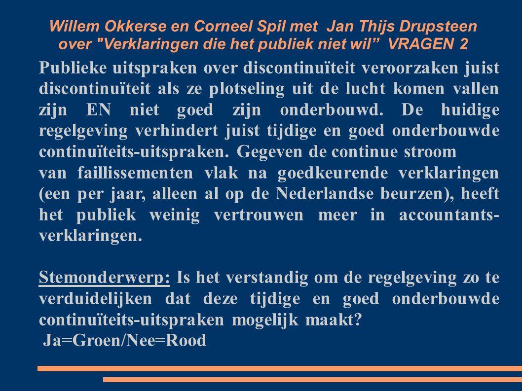 Willem Okkerse en Corneel Spil met Jan Thijs Drupsteen over Verklaringen die het publiek niet wil VRAGEN 2 Publieke uitspraken over discontinuïteit veroorzaken juist discontinuïteit als ze plotseling uit de lucht komen vallen zijn EN niet goed zijn onderbouwd.