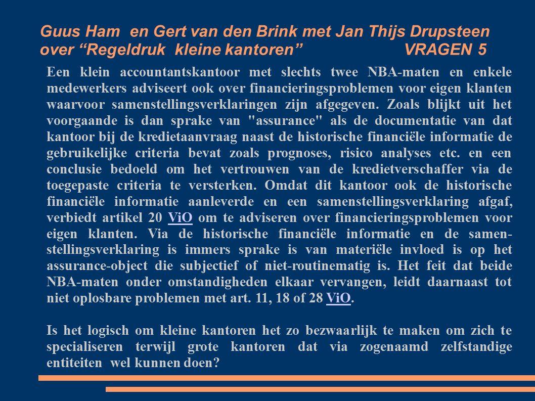 Guus Ham en Gert van den Brink met Jan Thijs Drupsteen over Regeldruk kleine kantoren VRAGEN 5 Een klein accountantskantoor met slechts twee NBA-maten en enkele medewerkers adviseert ook over financieringsproblemen voor eigen klanten waarvoor samenstellingsverklaringen zijn afgegeven.