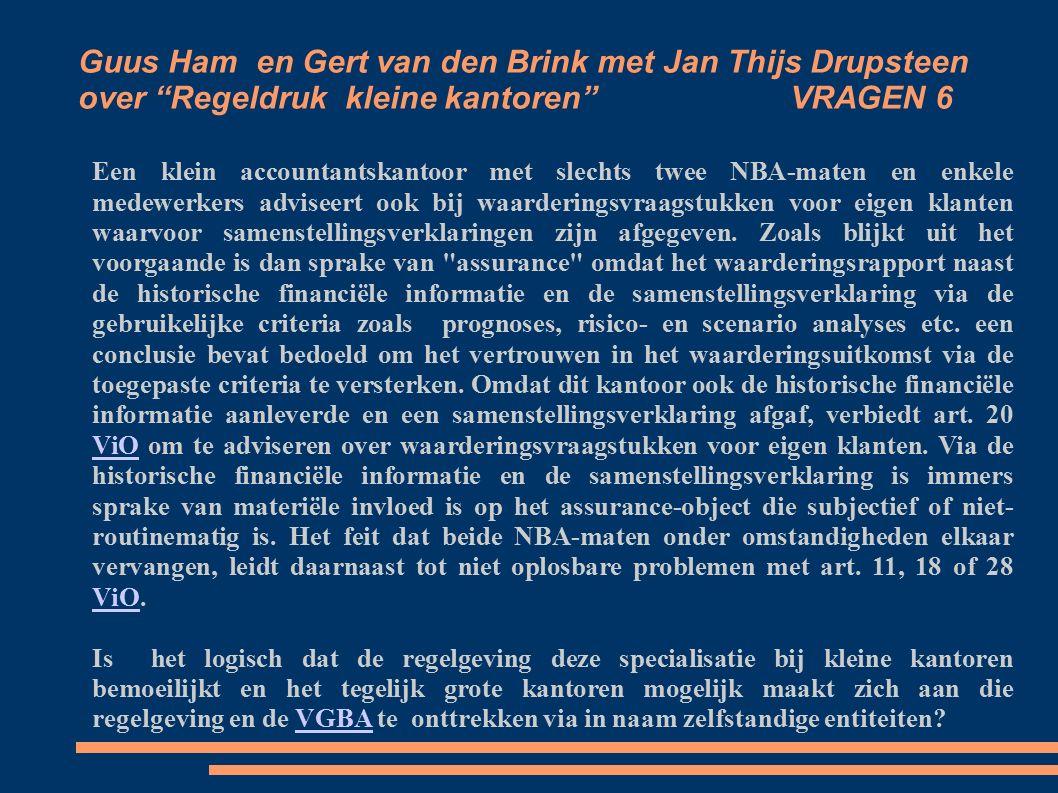 Guus Ham en Gert van den Brink met Jan Thijs Drupsteen over Regeldruk kleine kantoren VRAGEN 6 Een klein accountantskantoor met slechts twee NBA-maten en enkele medewerkers adviseert ook bij waarderingsvraagstukken voor eigen klanten waarvoor samenstellingsverklaringen zijn afgegeven.