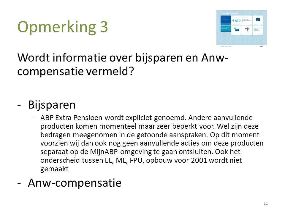 Opmerking 3 Wordt informatie over bijsparen en Anw- compensatie vermeld? -Bijsparen -ABP Extra Pensioen wordt expliciet genoemd. Andere aanvullende pr