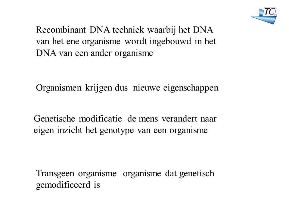Recombinant DNA techniek waarbij het DNA van het ene organisme wordt ingebouwd in het DNA van een ander organisme Organismen krijgen dus nieuwe eigenschappen Genetische modificatie de mens verandert naar eigen inzicht het genotype van een organisme Transgeen organisme organisme dat genetisch gemodificeerd is