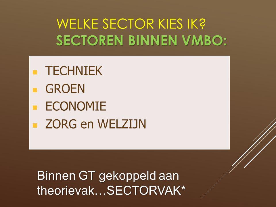 SECTOREN BINNEN VMBO: WELKE SECTOR KIES IK? SECTOREN BINNEN VMBO: TECHNIEK GROEN ECONOMIE ZORG en WELZIJN Binnen GT gekoppeld aan theorievak…SECTORVAK