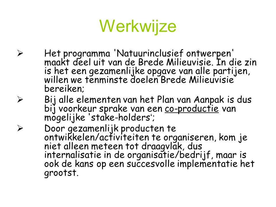 Werkwijze  Het programma Natuurinclusief ontwerpen maakt deel uit van de Brede Milieuvisie.