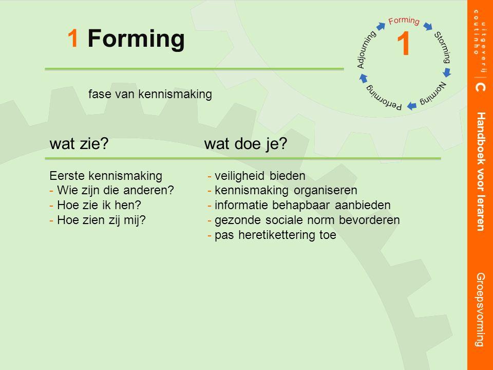 1 Forming 1 Handboek voor leraren Groepsvorming wat zie wat doe je.