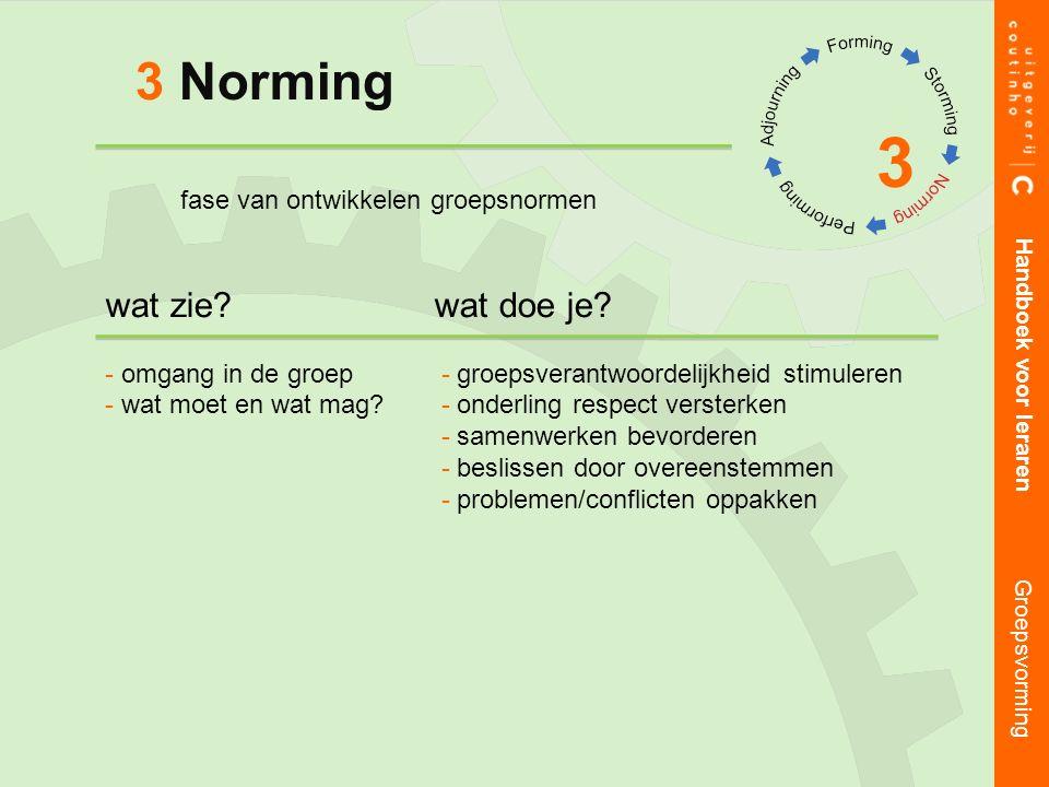 3 3 Norming Handboek voor leraren Groepsvorming wat zie wat doe je.