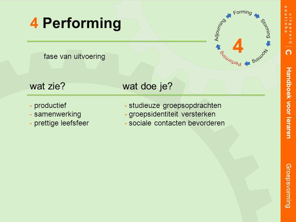 4 Performing 4 Handboek voor leraren Groepsvorming wat zie wat doe je.