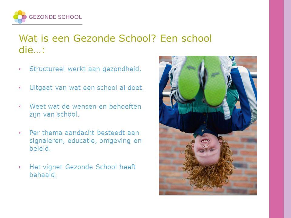 Wat is een Gezonde School. Een school die…: Structureel werkt aan gezondheid.