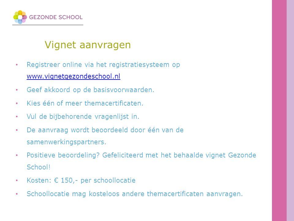 Vignet aanvragen Registreer online via het registratiesysteem op www.vignetgezondeschool.nl www.vignetgezondeschool.nl Geef akkoord op de basisvoorwaarden.