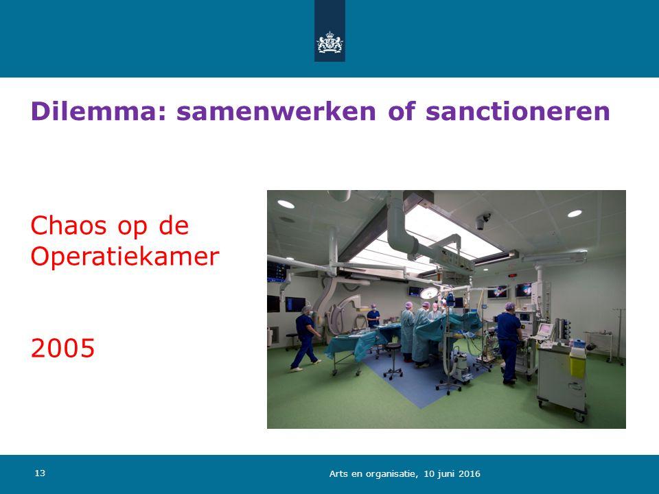 13 Chaos op de Operatiekamer 2005 Dilemma: samenwerken of sanctioneren Arts en organisatie, 10 juni 2016