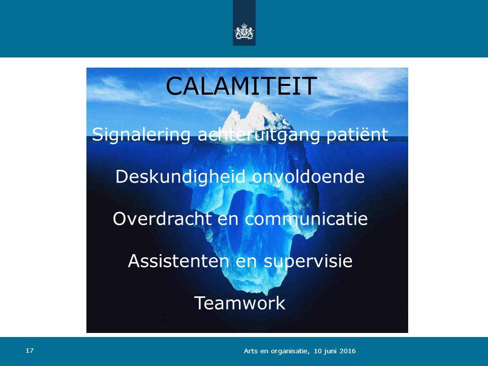CALAMITEIT Signalering achteruitgang patiënt Deskundigheid onvoldoende Overdracht en communicatie Assistenten en supervisie Teamwork 17 Arts en organisatie, 10 juni 2016