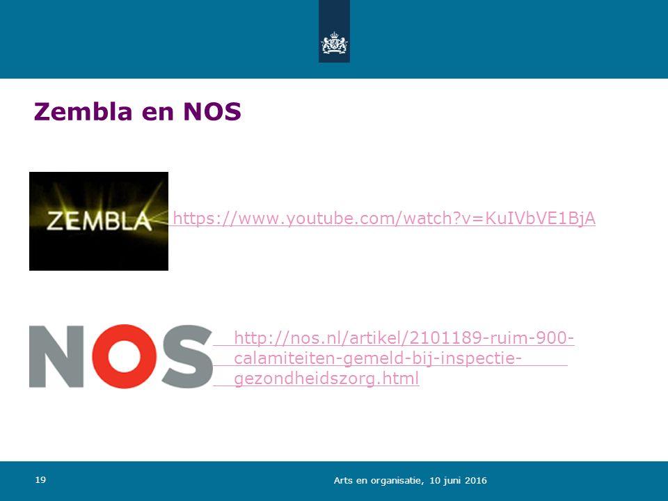 Zembla en NOS https://www.youtube.com/watch v=KuIVbVE1BjA http://nos.nl/artikel/2101189-ruim-900- calamiteiten-gemeld-bij-inspectie- gezondheidszorg.html 19 Arts en organisatie, 10 juni 2016