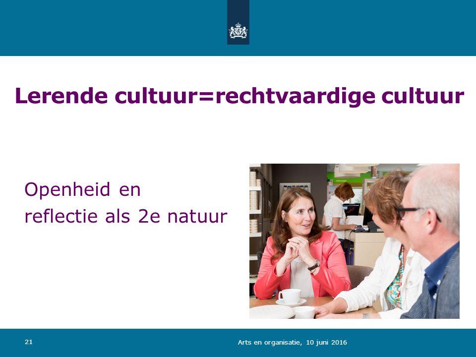 Lerende cultuur=rechtvaardige cultuur 21 Openheid en reflectie als 2e natuur Arts en organisatie, 10 juni 2016