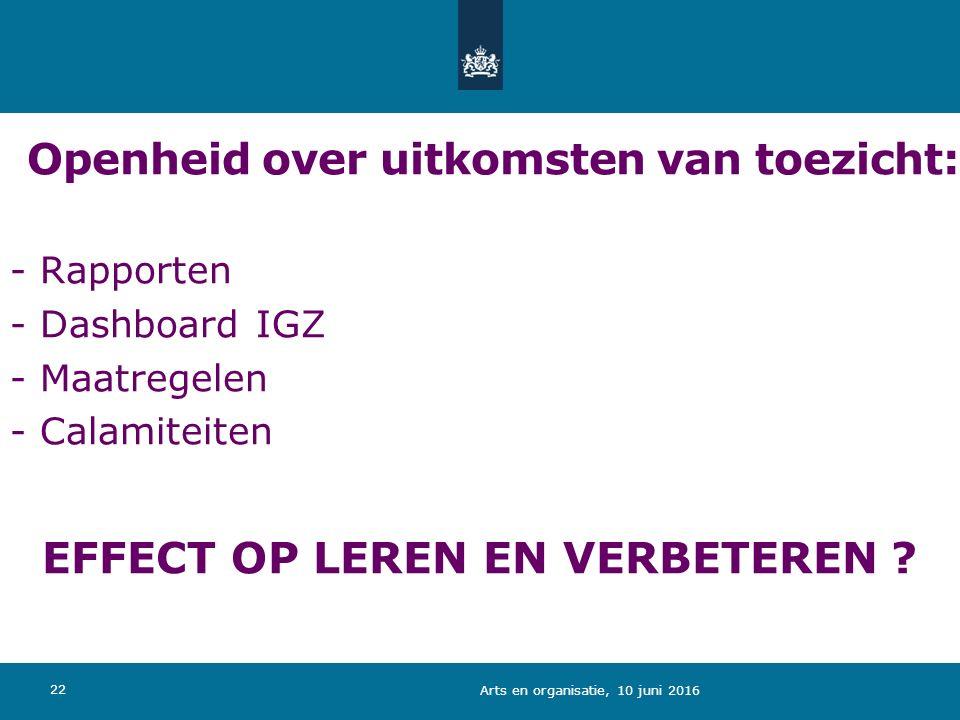 EFFECT OP LEREN EN VERBETEREN ? Openheid over uitkomsten van toezicht: - Rapporten - Dashboard IGZ - Maatregelen - Calamiteiten 22 Arts en organisatie