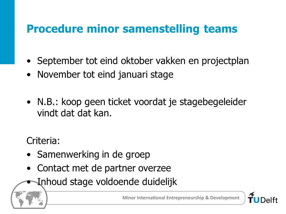 3 Challenge the future Delft University of Techology Procedure minor samenstelling teams September tot eind oktober vakken en projectplan November tot eind januari stage N.B.: koop geen ticket voordat je stagebegeleider vindt dat dat kan.